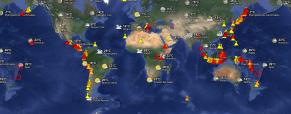 Mapa interactivo de volcanes activos y los terremotos recientes en todo el mundo