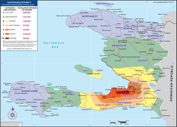 intensidad terremoto de haití
