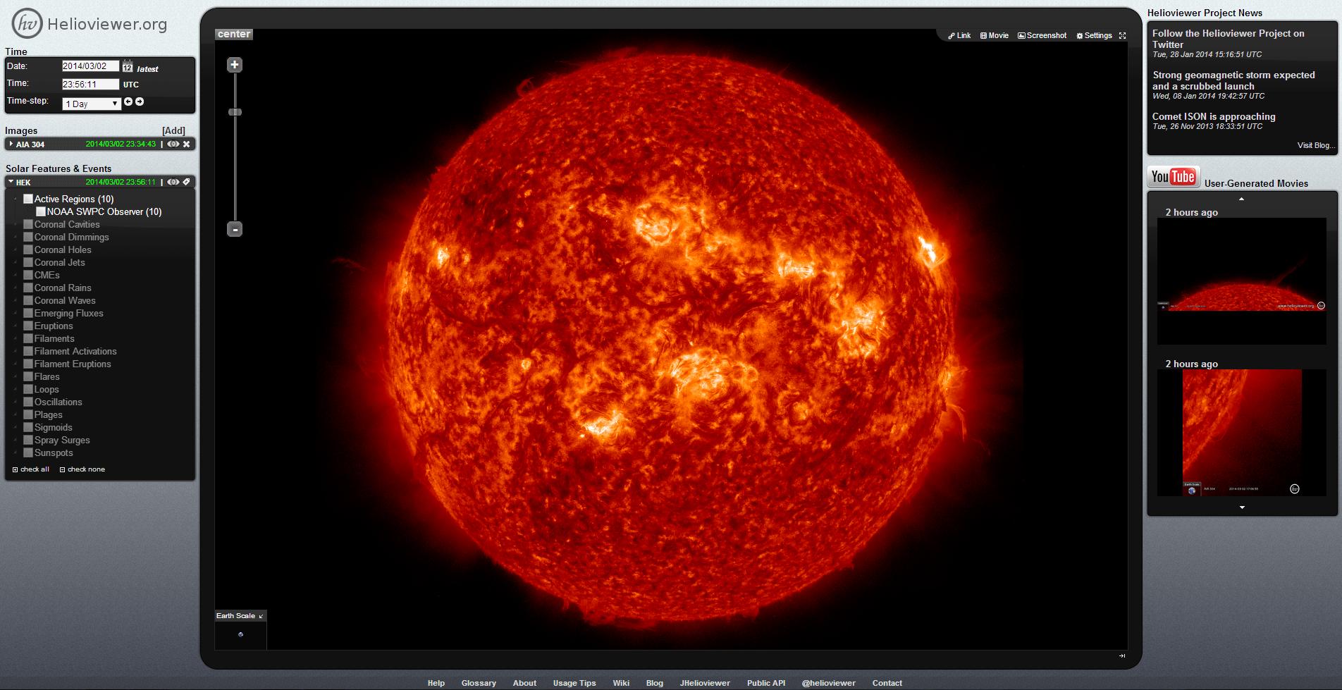 Visión interactiva 3D del Sol-Helioviewer