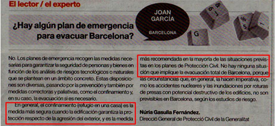 hay algun plan de emergencia para evacuar Barcelona